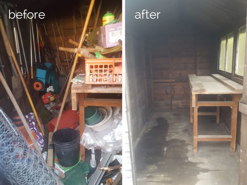 Garden shed contents to be disposed of, cleared and cleaned